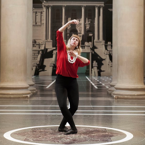 Image: Rosalie Wahlfrid in Pablo Bronstein's 'Historical Dances in an Antique Setting'. Tate Britain 2016.
