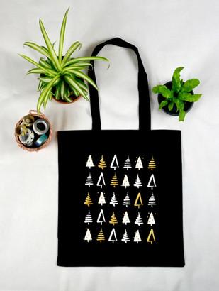 "Tote Bag Noir ""Sapins de Noël"""