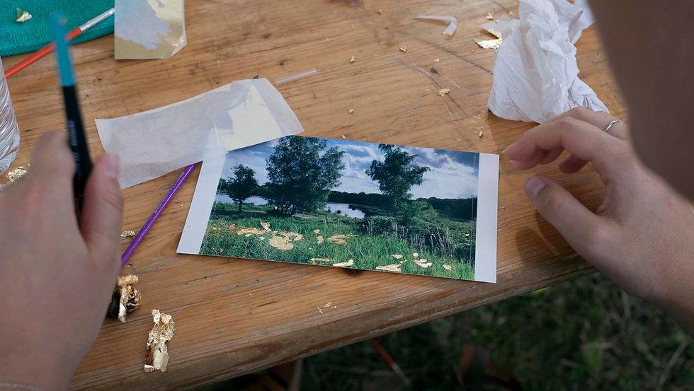 Atelier tcpc Photo dorure Art environnemental participatif Ateliers nomades grand public paysage ENS espace naturel sensible
