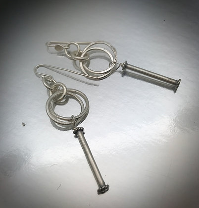 Sterling silver loops and stick dangle earrings