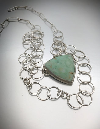 One of a kind triangular bezel set chrysoprase pendant with hand crafted chain