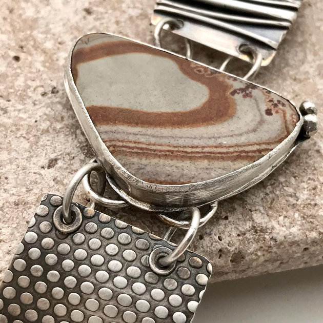 Bold Japser and Sterling Silver Link Bracelet