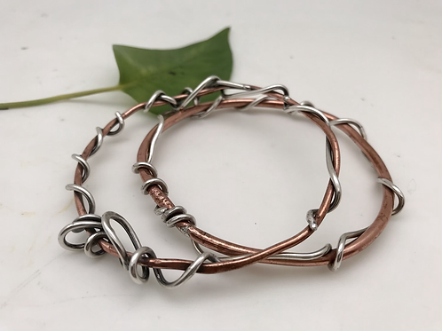2 solid Copper and Sterling Silver Bangles