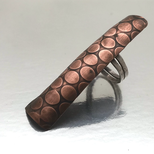 Long elegant and funky copper and sterling ring