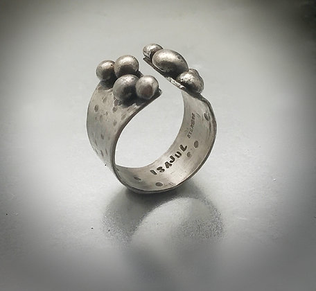 Wide band sterling silver ring with large sterling granulation