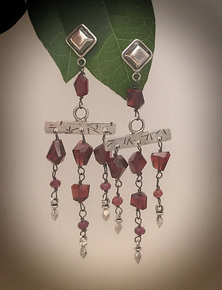 Garnet and Sterling Silver Post style dangle earrings