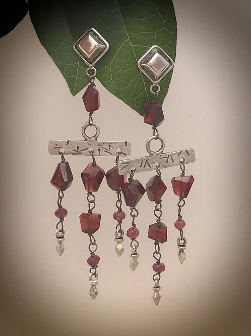Garnet and Sterling Silver Post style dangle earrings