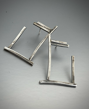 Abstract darkened rectangle post earrings in sterling silver