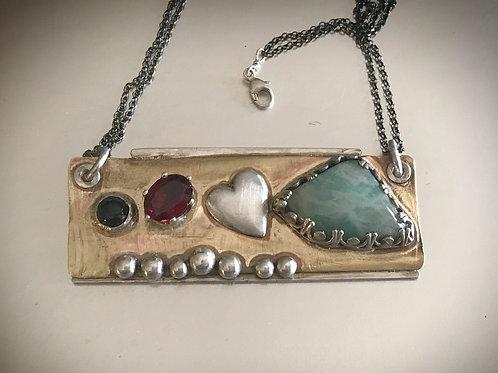 One of a kind mixed metal rectangular gemstone pendant