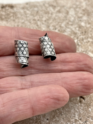 Rolled Sterling Sheet with Dot pattern. Post earrings. Oxidized to bring out detail