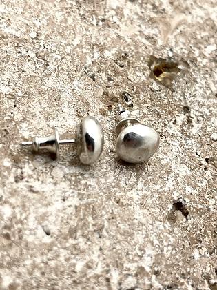 flattened ball earrings in sterling silver. approx 3/8 inch in diameter