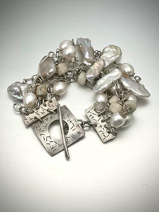 White Pearls Menagerie Multistrand Bracelet