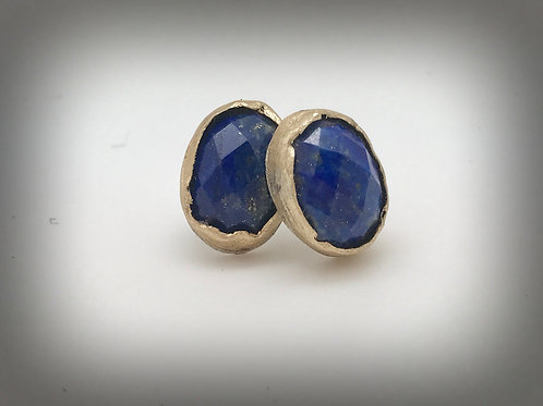 Rustic lapis brass and sterling oval stud earrings