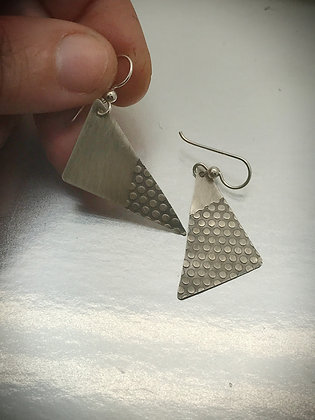 Asymetrical one of a kind sterling triangle earrings