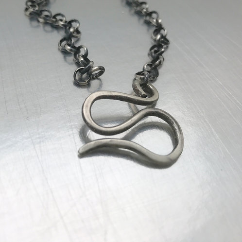 Sturdy sterling silver Rolo chain with hand fabricated swirl clasp