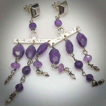 Sterling silver and amethyst post and dangle bohemian earrings