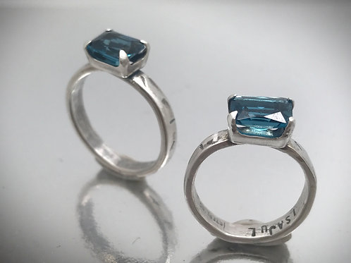 Emerald cut London Blue Topaz solitare prong set sterling ring