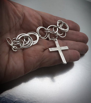 Sterling Large Link Bracelet with Cross Charm