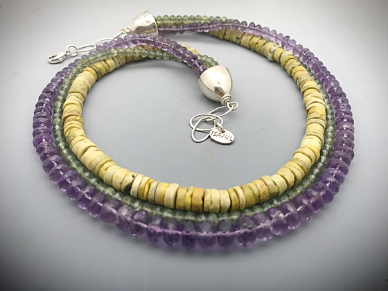 Three strand amethyst and turquoise statement necklace
