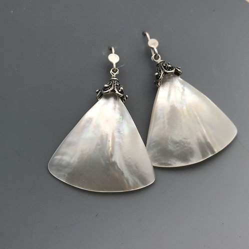 Triangular mother of pearl earrings