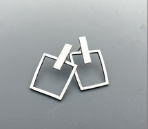 Sterling Silver Square Post Earrings