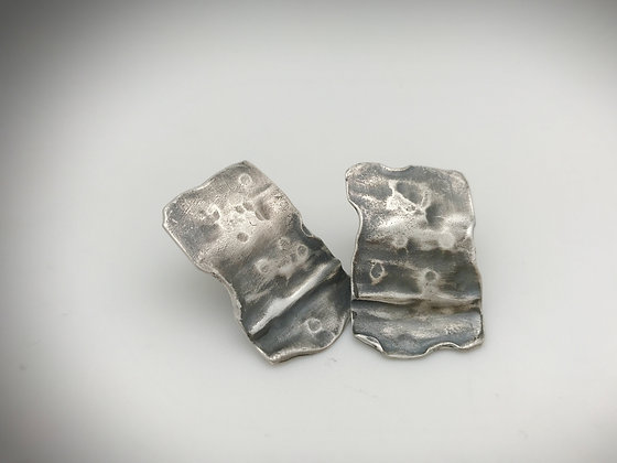 Organic sterling silver rectangular stud earrings