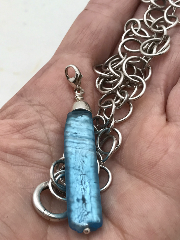 Blue venetian Glass and sterling handmade chain