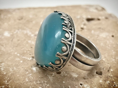 Smokey aquamarine cabochon sterling statement ring size 7.25