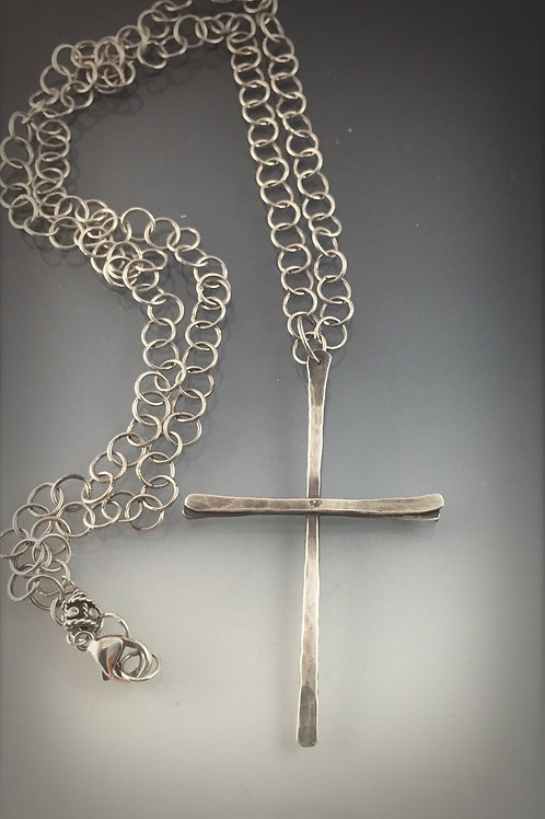 Sterling Handcrafted Cross on 28 inch sterling chain