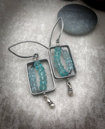Sterling silver rectangle dangle earrings with blue appatite and blue topaz