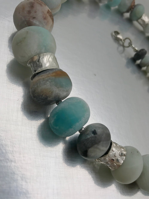 Adustable,matte, graduated Amazonite necklace