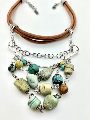 Leather, Sterling and Turquoise Neckpiece