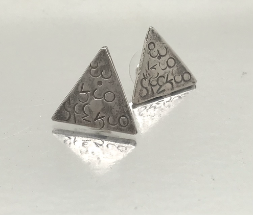 Sterling silver Triangular Abstract stamping post Earrings