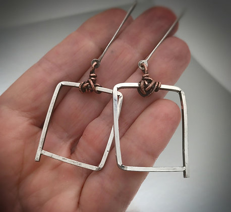 Square hoop earrings in sterling silver and copper