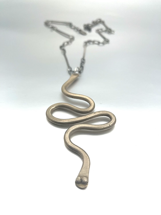 Bronze Snake and handmade oxidized sterling chain