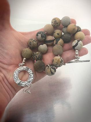 Picasso jasper handknotted adjustable necklace
