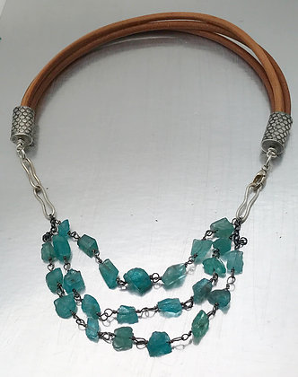 Three strand apatite and leather necklace one of a kind