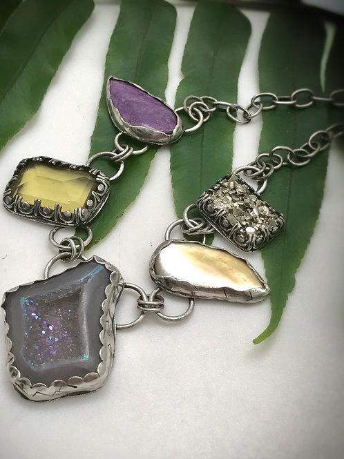Sterling silver gemstone vintage looking statement necklace