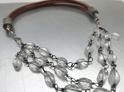 Three strand of quartz crystal and leather necklA