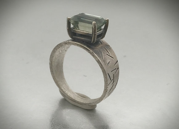 Emerald cut prong set green amethyst and sterling silver ring in size 9