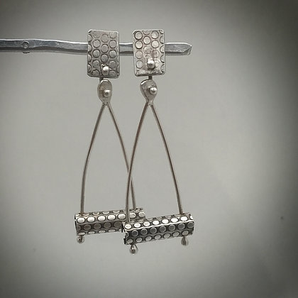One of a kind sterling post and dangle earrings with polka dot pattern