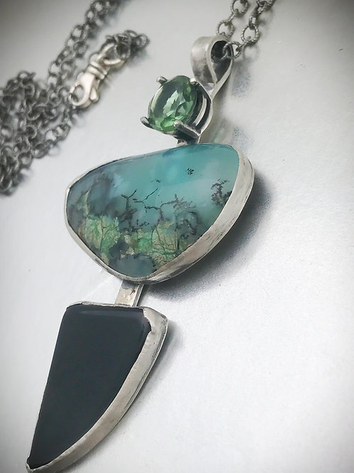 One of a kind, chrysoprase pendant with sterling silver adjustable chain