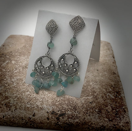 Sterling silver and appatite bohemian gypsy post and dangle earrings