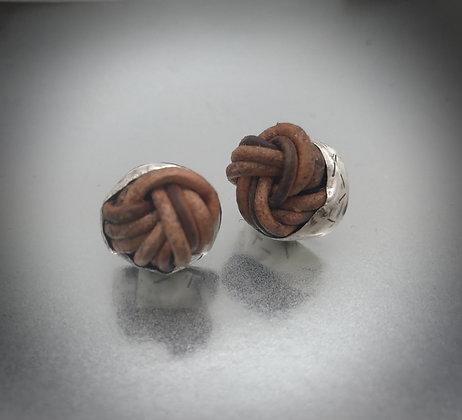 Sterling silver bezel set leather knot stud earrings
