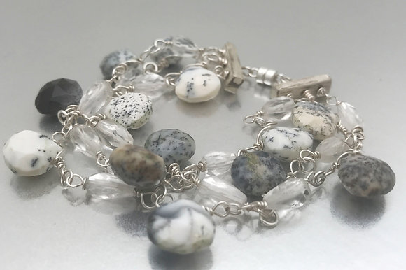 Sterling three strand magnetic clasp with dendritic agate and faceted quartz