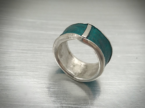 Rustic blue green turquoise and sterling silver band ring