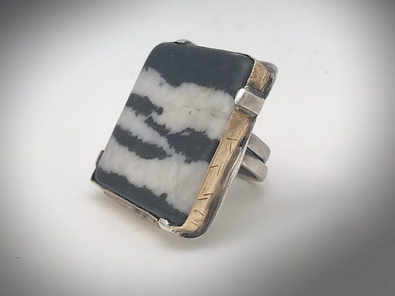 Statement Ring with large square Zebra Stone, brass bezel and sterling silver ri