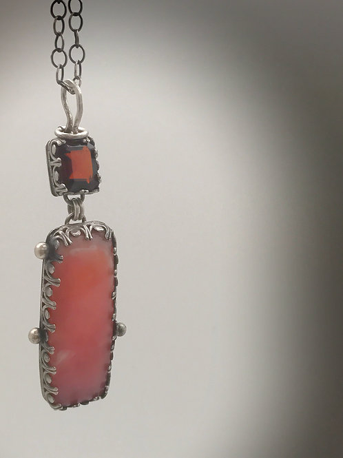 Sterling silver pink Peruvian opal and garnet pendant with 20 inch chain