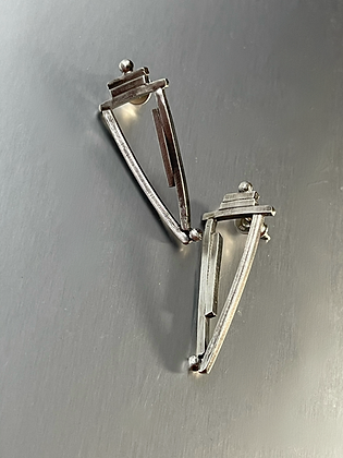 Sterling Silver Modern Triangular Post earrings