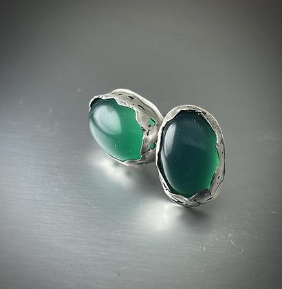 Oval Green Onyx bezel set in sterling silver post stud earrings